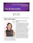 New & Noteworthy, April 2019 by Linda Lombardi, Amanda Dawson, and Kate Langsdorf